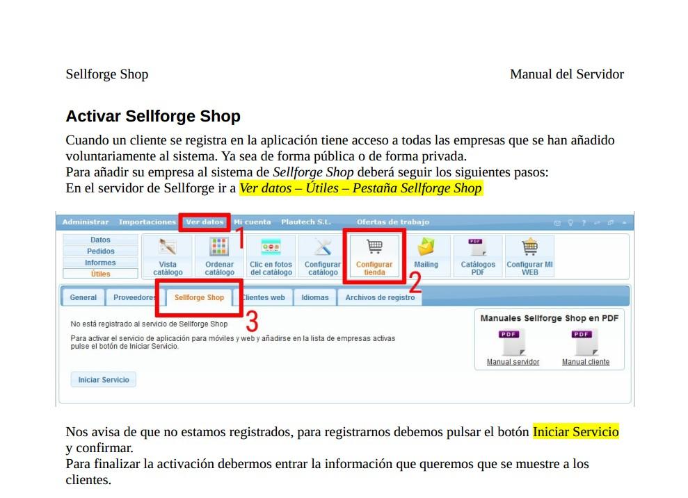 manual Sellforge Shop servidor